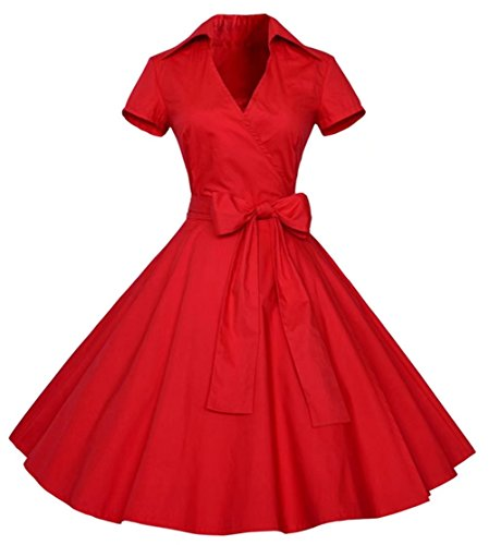Dear-Queen Womens Polka Dot Dresses,50s Style Short Sleeves Rockabilly Vintage Dress