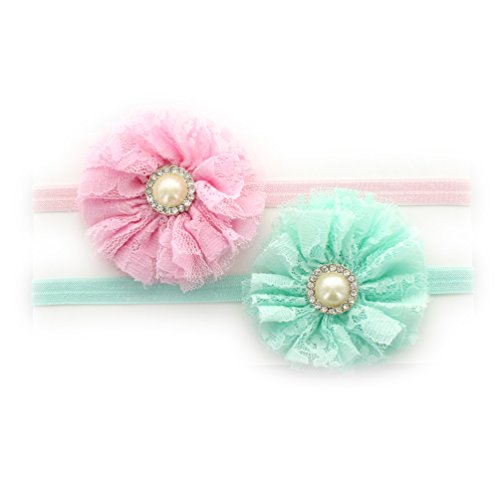 My Lello Infant Baby Shabby Lace and Tulle Flowers w/Rhinestone Pearl Center on Stretchy Elastic Headbands Pair (Light Pink/Aqua)