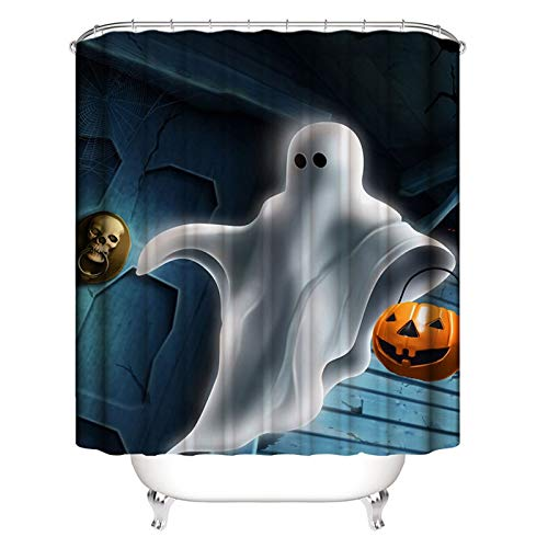 ANAZOZ Bath Curtain Polyester Multicolor Halloween Spooky Pumpkin Anti-Bacterial Waterproof and Mildew Resistant Bathroom Shower Curtain 180x200 -