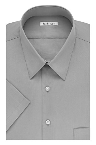 Van Heusen Men's FIT Short Sleeve Dress Shirts Poplin Solid (Big and Tall), Grey Stone, 19