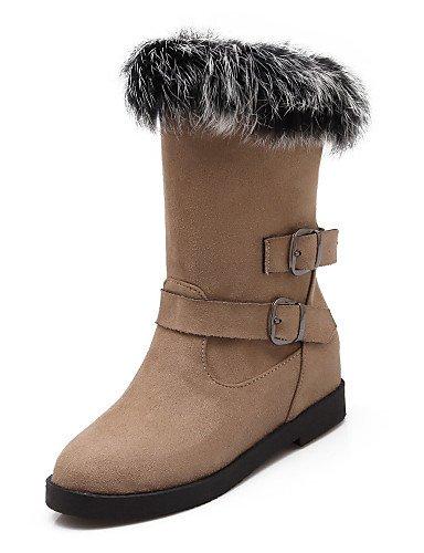 Xzz/ Chaussures Femme - Habillé Noir / Marron Beige Plateforme Bottine Bout Arrondi Bottes Faux Daim Black-us8 Eu39 Uk6 Cn39