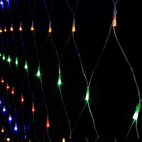 TORCHSTAR 9.8ft × 6.6ft Transparent LED Net Mesh String Lights, 204 LEDs, Multicolor Extendable 8 Modes Fairy Mesh Lights for Bushes, Garden, Wedding, Party (Outdoor For Trees Net Lights)