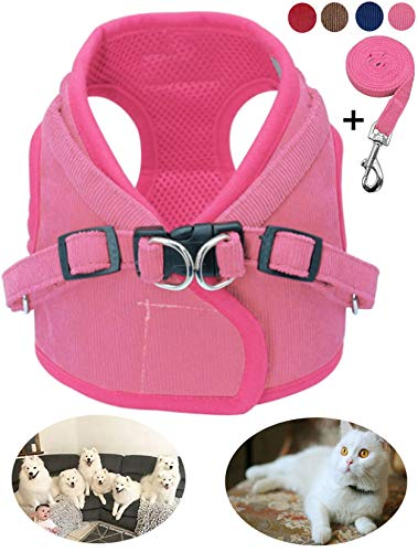 GAUTERF Pet Dog Cat Harness and Leash Set,Nylon Material Leash,Corduroy Soft Material Adjustable Outdoor Reflective Pet Girl Harness and Leash Set,fit Medium Large Pets(Large,Pink)