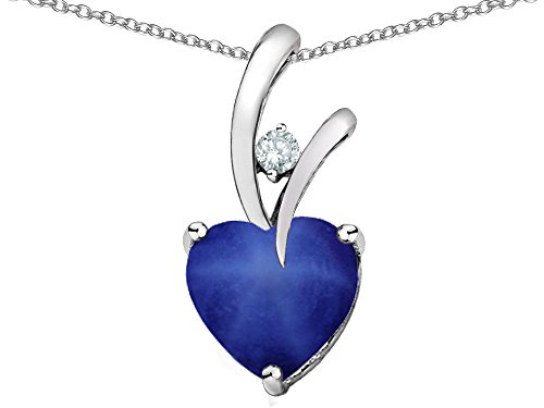 (Star KHeart Shape 8mm Created Star Sapphire Endless Love Pendant Necklace Sterling Silver)