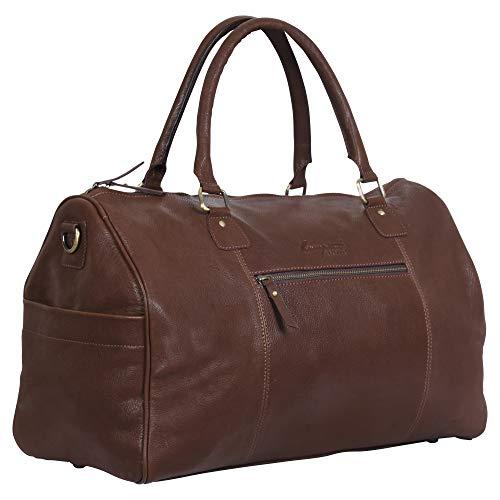 Tan Genuine Duffle Leather Weekender Travel Gym Bag