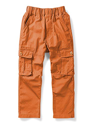 Mesinsefra Boy Cargo Pants Casual Trousers Solid Color Slacks Orange 160cm ()