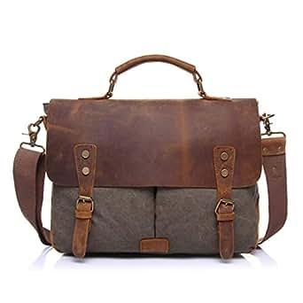 Mens Bag Color: Brown Simple Retro Zip Canvas Briefcase Shoulder Bag Messenger Bag High capacity (Color : ArmyGreen)