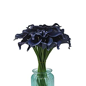 """Mini 15"""" Artificial Calla Lily 10 Stem Bridal Bouquets Artificial Latex Real Touch Flowers for Home Party Decor (Navy Blue) 3"""