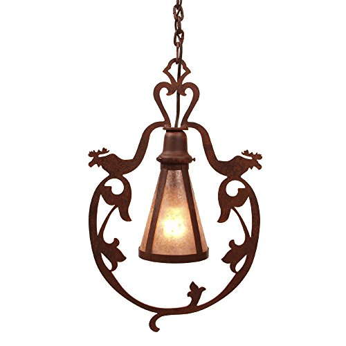 Steel Partners Lighting BAV2155-P-MB-WM Pendant - Bavarian Moose with Mountain Brown Finish and White Mica Lens