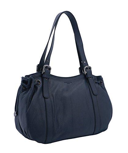 cuir Nuit Palme de vachette porté Sac anses Bleu 2 épaule en Hexagona nTO4R0w