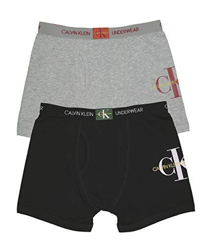Calvin Klein Boys' Little Modern Cotton Assorted Boxer Briefs Underwear, Multipack, 2 Pack - Heather Grey, Black, X-Large / 16-18 (Bras Boxer)
