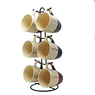 Elama EL-Coffeehouse Coffee House 6-Piece 12 oz. Mug Set with Stand, Assorted Colors