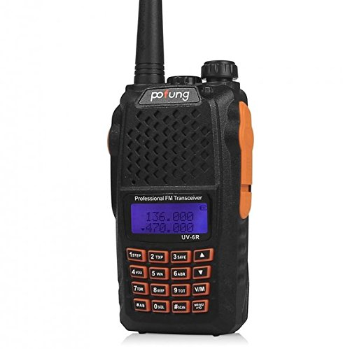 5 Pack Baofeng Pofung 2015 UV-6R Dual-Band Two-Way Radio Transceiver 136-174/400-520MHz High Power 5W/1W, 65-108MHz FM Two-Way Radio + 1 Programming Cable