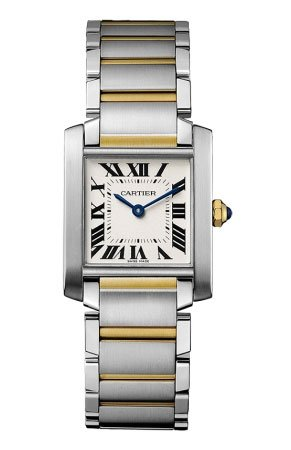 Cartier Tank Francaise Silver Dial 18Kt Yellow Gold Steel Ladies Watch W2TA0003