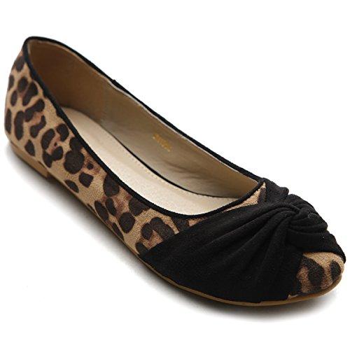 Scarpa Da Balletto Ollio Donna Comfort Faux-suede Leopardata Nera