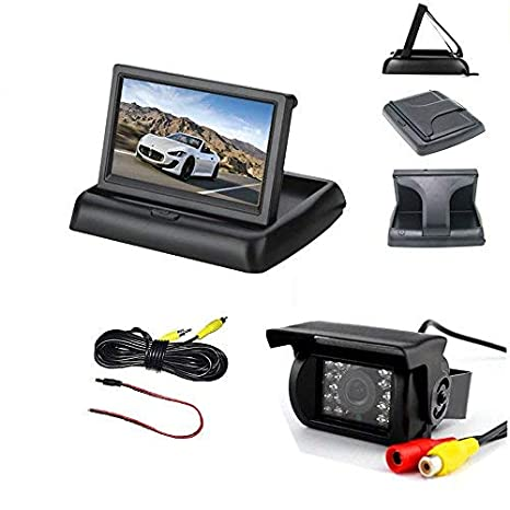 Vehicle White Backup Camera with Monitor Kit,IR Night Vision Waterproof Reverse Rear View Camera 4.3 Foldable Car LCD Monitor for 12V-24V Bus Truck Trailer RV with 10m Video Cable