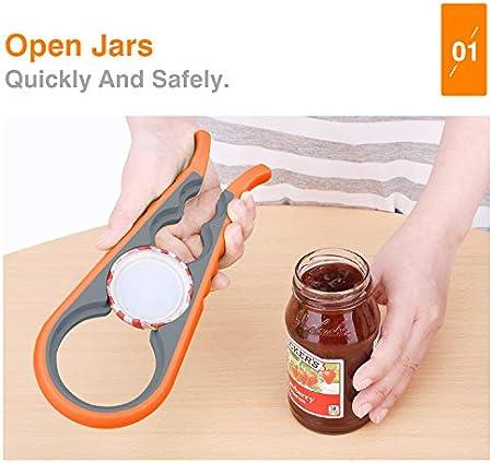 Nuovoware 4 en 1 Abrebotellas, Abrebotellas Acero Giratoria Abre Rápidamente, Cocina Uso diario, Fácil de Abrir cervezas, jarra, botella - Naranja