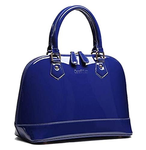 - Yan Show Women's Satchel Purse Large Tote Lady Shoulder Bag Patent Leather Handbag Top Handle Shell Bag (Blue)