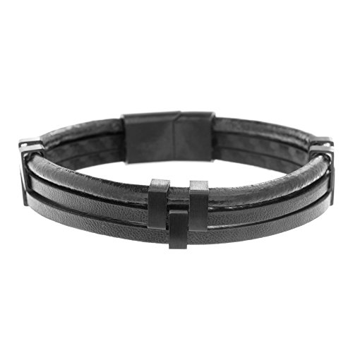 - Ben Sherman Men's Black Leather Triple Strand Bracelet with Stainless Steel Black IP Closure