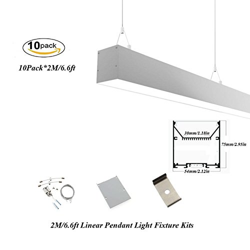 Hanks 10Pack 2M/6.6ft 54x75mm Linear Pendant Light Profile Fixture With Suspension Wires for Home and Office (10x2m Milk) by Hanks