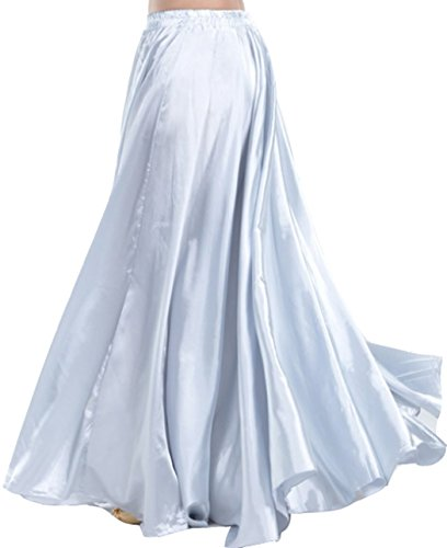Astage Belly Dance Satin Full Circular Long Skirt, Hot Dance Costume Silver