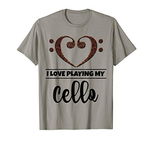 Bass Clef Musical Heart I Love Playing My Cello Musician T-Shirt