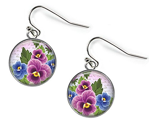 Pansies in Pink & Blue Glass Picture Earrings Silver Plated