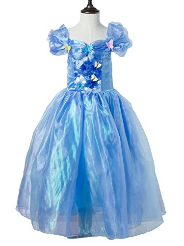 Frozen Anna Elsa Cinderella Deluxe Girl's Costume Enchanting Dress (Age 7-8 ( Heights upto 55 inches or 140 cm), Cinderella (Ice Age Fancy Dress Costumes)
