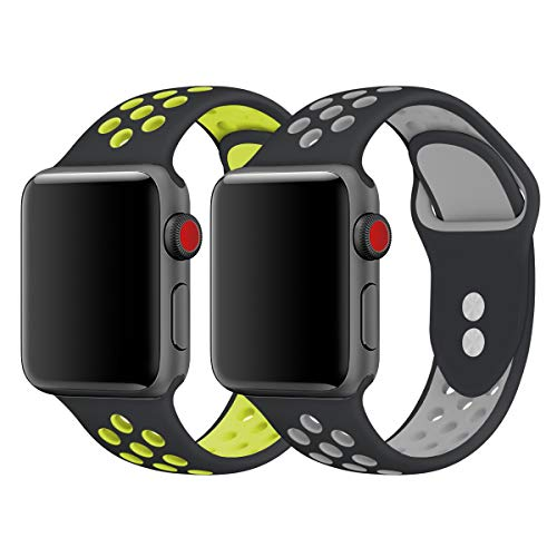 iWatch Band, KADES Breathable Soft Silicone Replacement Band Compatible for Apple Watch Series 4 44mm& Series 1/2/ 3 42mm