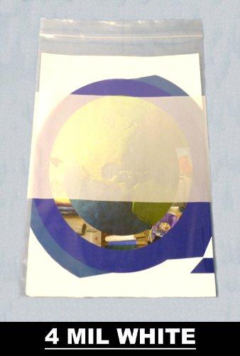 Reclosable Bag with White Block Plastic Zipper Bags 4 Mil Thick 4' x 6' 200 Per Case