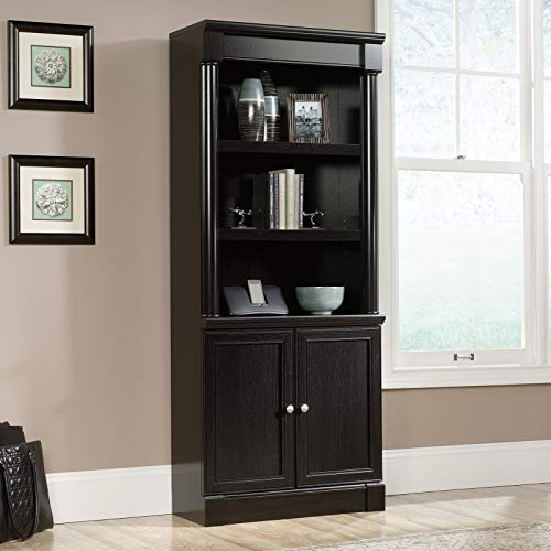 Library Bookcase with Doors, Sturdy Wood Construction, Three Adjustable Shelves, Combination of Open and Concealed Storage, Enclosed Back Panel, Cord Access, Sophisticated Wind Oak Finish
