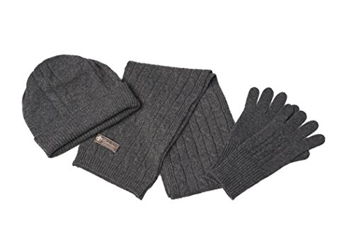 Unisex Pure Cashmere Scarf Hat and Gloves 3 Piece Set (Charcoal, One Size)