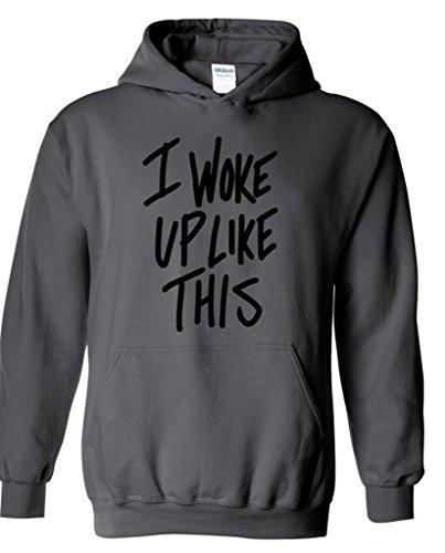 icustomworld I Woke Up Like This Black Logo Hoodie Fashion Hooded Sweatshirts L Charcoal