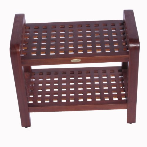 18'' Espalier Teak Lattice Shower Bench with Shelf with Lift Aide Arms- For shower, bath, sauna, living, or outdoors by Decoteak
