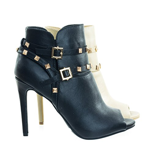 Peep Toe Dress Ankle Bootie w Belted Detail & Pyramid Metal Studs by Anne Michelle