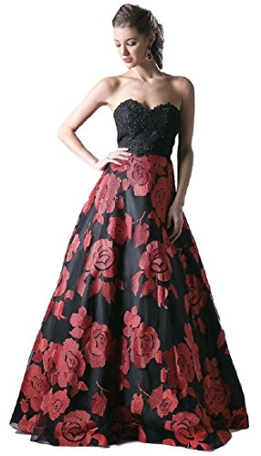 Meier Women's Strapless Rosette Embroidery Evening Ball Gown Size 10 by Meier