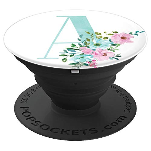 Mint and Pink Floral Flowers Monogram Name Initial Letter A - PopSockets Grip and Stand for Phones and Tablets