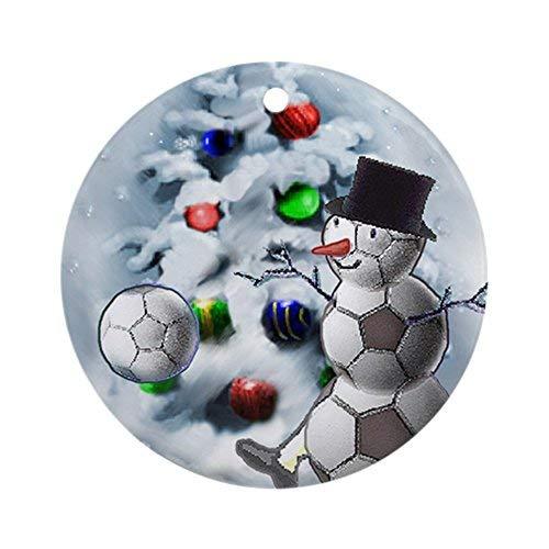 EvelynDavid New Year Christmas Tree Decoration Soccer Ball Snowman Christmas Round Holiday Christmas Ornament ()