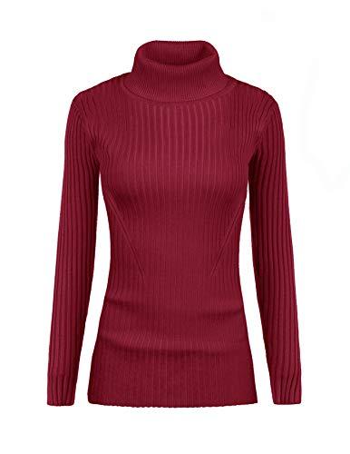 (v28 Women Stretchable Turtleneck Knit Long Sleeve Slim Fit Bodycon Sweater)