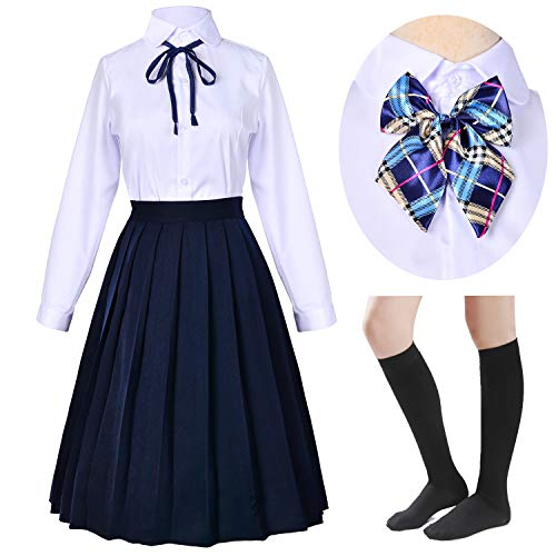 Long Dress Classic Japanese School Girls Sailor Shirts Pleated Skirt Uniform Anime Cosplay Costumes with Socks Set(Navy)(S = Asia M)(SSF20NV) -