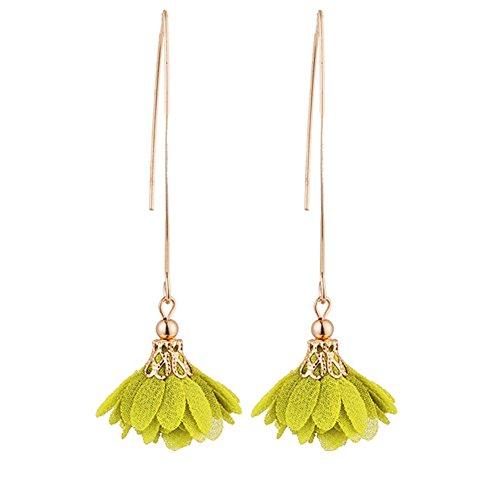 (Infgreate Women Beautiful And Lovely Jewelry Long Dangle Flower Earrings Wedding Party Banquet Vintage Piercing Jewelry Lemon Yellow)
