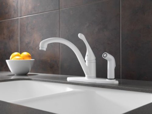 Delta 340-DST Collins Single Handle Kitchen Faucet with Integral Spray Chrome