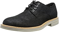 CK Jeans Men's Errant Coated Suede Oxford, Black, 9.5 M US