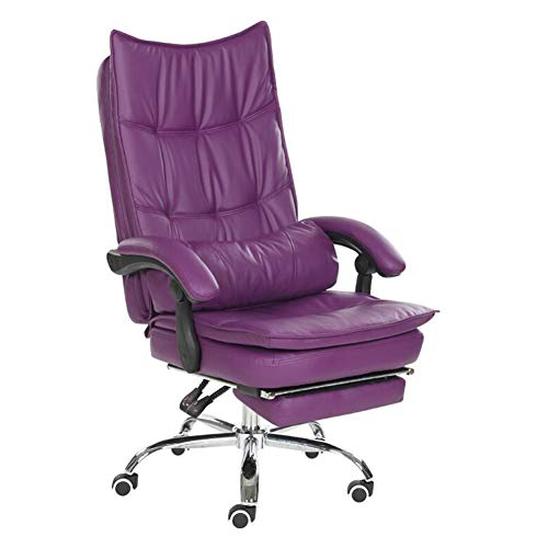 Chairs CJC Computer Swivel Leather Desk Ergonomic Recliner with Padded Footrest and Lumbar Cushion Height Adjustable (Color : Purple)