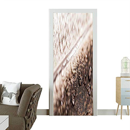 Door Sticker Wall Decals Abstract Composition with Colorful Hen Feather with Water Drops Easy to Peel and Stick W32 x H80 INCH