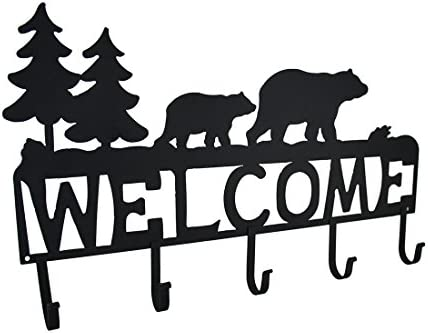 Zeckos Rustic Black Bear Decorative Welcome Wall Hook