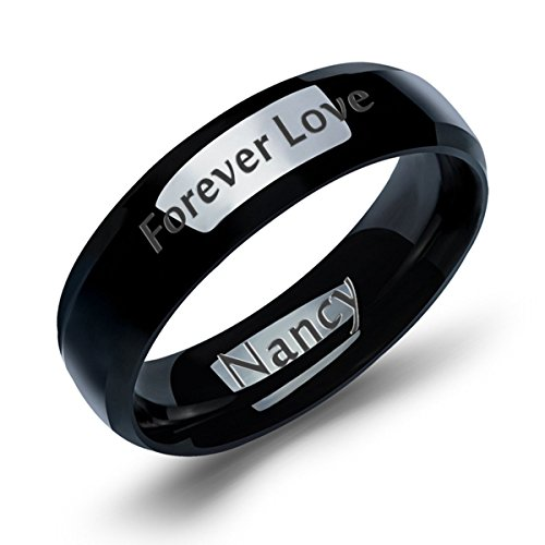 HooAMI Mens Stainless Steel Unique Black Matching Couple/Friendship Rings Size 7 Personalized Custom