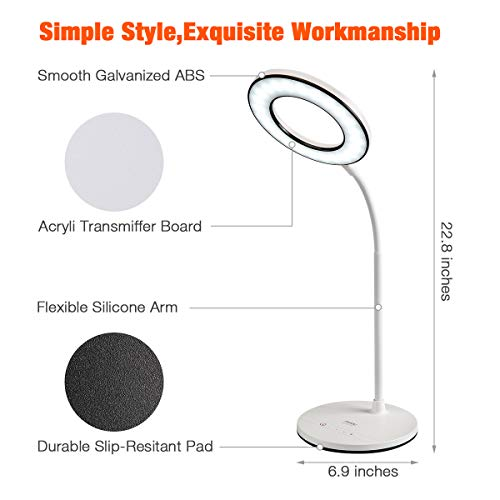 Miady LED Desk Lamp Eye-Caring Table Lamp, 3 Color Modes with 4 Levels of Brightness, Dimmable Office Lamp with Adapter, Touch Control Sensitive, 360° Flexible by Miady (Image #4)