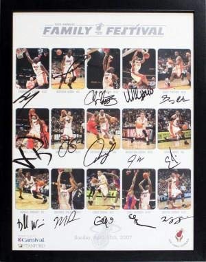 2006-07 Miami Heat Autographed Framed 22x28 Poster - Autographed NBA Photos