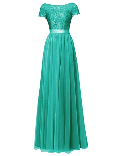 Pretygirl Womens Tulle Long Bridesmaid Dress Short Sleeves Lace Prom Evening Dresses (US 16, -